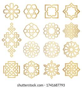 Vector set of logo design templates. Symbols in ornamental arabic style. Ornate decor for invitation, greeting card, wallpaper, background, web page.