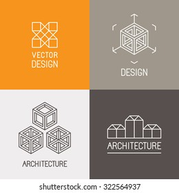 Vector set of logo design templates in trendy simple linear style - emblems and signs for architecture studios, object designers, new media artists and augmented reality start-ups