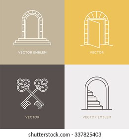 Vector set of logo design templates and emblems in trendy linear style - architecture, real estate and opening concept