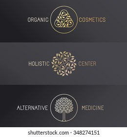 Vector set of logo design templates and emblems in trendy linear style - luxury badges in golden colors on black background - organic cosmetics, holistic center and alternative medicine