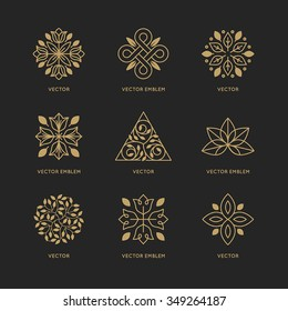 Vector set of logo design templates and emblems in trendy linear style in golden colors on black background - floral and natural cosmetics concepts and alternative medicine symbols