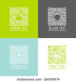 Vector set of logo design templates and badges in trendy linear style - black, green, herbal and fruit teas - packaging design templates