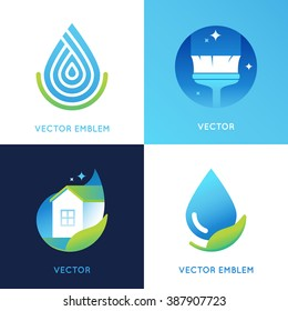 Vector set of logo design templates in bright gradient colors - cleaning service concepts