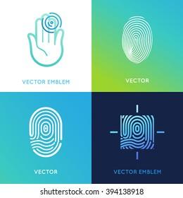 Vector set of logo design templates in bright gradient colors - fingerprint icons