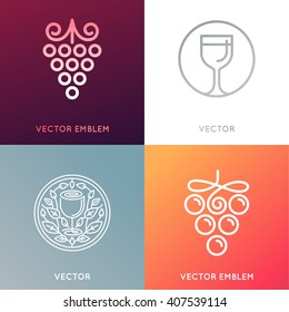Vector set of logo design templates and emblems - wine labels design elements and wine restaurants and bars - grape symbols