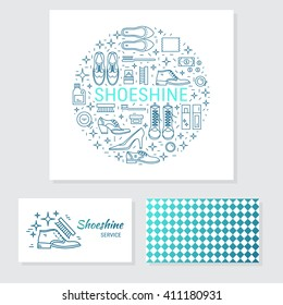 Vector set of logo design templates, business card design and signs for identity  - shoeshine service. Different type of shoes and  shoe care equipment.