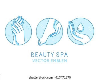 Vector set of logo design templates and infographics design elements for cosmetics and cream product packaging in linear style and blue colors - manicure and pedicure - beauty spa salon emblems