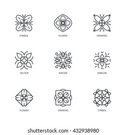 Vector set of logo design templates and emblems in trendy linear style