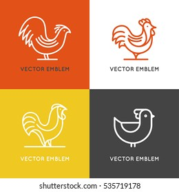 Vector set of logo design templates in linear style - rooster and hen line illustration - emblem for chicken farm or cooking concept