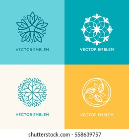 Vector set of logo design templates and emblems made with leaves and flowers - badge for yoga studios, holistic medicine centers, natural cosmetics, handcrafted jewelry and organic food products