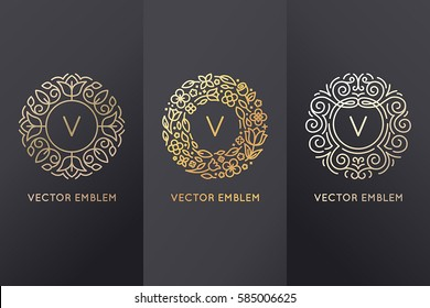 Vector set of logo design templates and monogram frames in trendy linear style with flowers and leaves made with golden foil on black background  - luxury products, organic cosmetics packaging