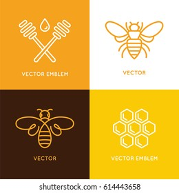 Vector set of logo design templates in trendy minimal linear style - honey bee concept - emblems for food packaging