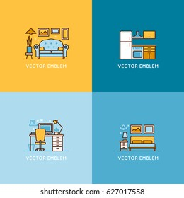 Vector set of logo design templates and illustrations in trendy minimal linear style - interior design concept - furniture and home decoration items and icons for workspace, bedroom, living room