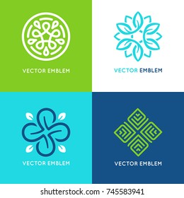 Vector set of logo design templates and emblems with leaves and lines - beauty spa concepts - green badges for yoga studios and classes, holistic and alternative medicine, organic and vegan food