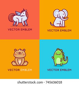 Vector set of logo design templates in cartoon flat linear style - little smiling bear, unicorn, elephant and dinosaur - emblem, mascot, sticker or badge for kids store