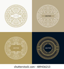 Vector set of logo and monogram design templates in trendy linear style with copy space for text - abstract emblems for beauty product packaging