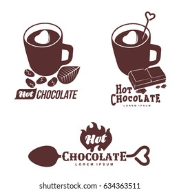 Vector set logo template hot chocolate. Hot cocoa, marshmallow. Vector template for business card, poster, banner, design elements for cafe, coffee shop. Isolated on white background.