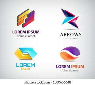 Vector set of Logo templates. Modern abstract unity, 2 parts creative signs,  symbols. Design geometric elements. Identity logotype concepts.