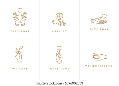Vector set of logos, badges and icons for charity and volunteer concepts. Philanthropic organization signs design. Collection symbol of volunteer organizations