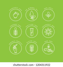 Vector set of logos, badges and icons for natural and organic products. Eco safe sign design. Collection symbol of healthy products