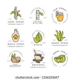 Vector set of logos, badges and icons for natural and organic products. Collection symbol of healthy products and sugar alternatives, natural substitutes