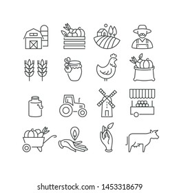 Vector set of logos, badges and icons for natural farm and health products. Collection symbol of localy grown and organic food