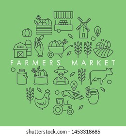Vector set of logos, badges and icons for natural farm and health products. Collection symbol of localy grown and organic food. Concept illustration for farmers market