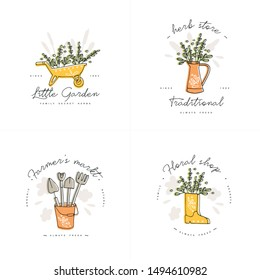 Vector set of logos, badges and icons for farmers and garden tools flowers shop. Collection symbol of gardening