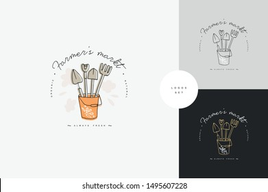Vector set of logos, badges and icons for farmers and garden tools. Collection symbol of gardening