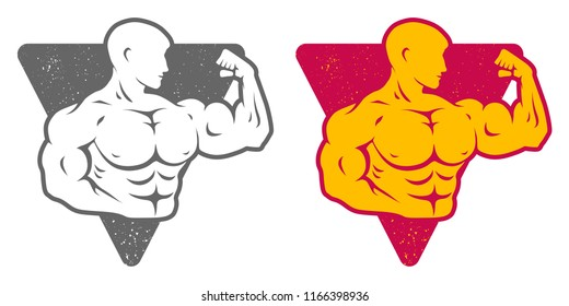 Vector set logos for bodybuilding. Set emblems with bodybuilder on isolated background.