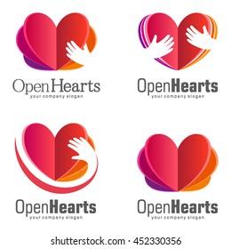 Vector Set of logos for charity. The work of volunteers. Open Hearts