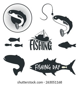 Vector set of logos, emblems, labels and badges with fish. Fishing, boat, hook