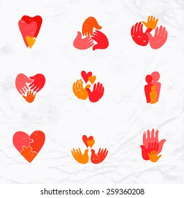Vector set of logos with hand, heart, bird, palm elements. Design template and concept of love, family, friendship, childhood, charity, local and global community, help, awareness, society.