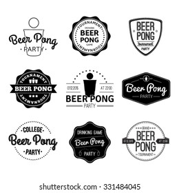 Vector set logos and icons Beer pong.