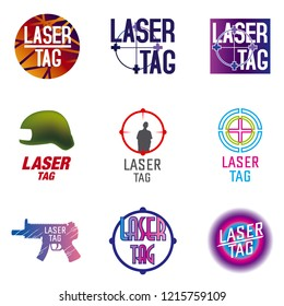 vector set of logos for laser tag