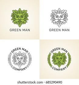 Vector set of logos. Stylized Green man head with oak leaves.