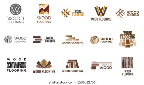 Vector set of logos of wooden floors and coverings