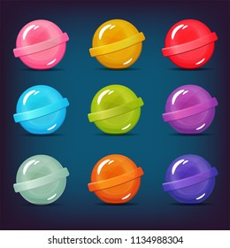 Vector set of lollipop candy icons. Isolated elements on blue background. Perfect for match three game or other design works