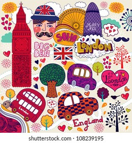 Vector set of London symbols and hand lettering of main place in town. Welcome in London.