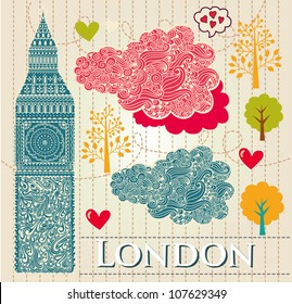 Vector set of London symbols. Vector seamless pattern
