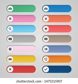 Vector set long button icon for web design.