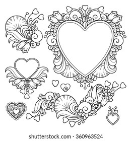 Vector set love valentines day abstract elements in doodle style. Floral, nature, ornate, decorative, heart compositions. Black and white monochrome background. Zentangle hand drawn coloring book page