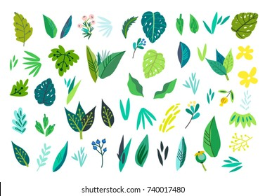 Vector set of lovely leaves in bright colors.