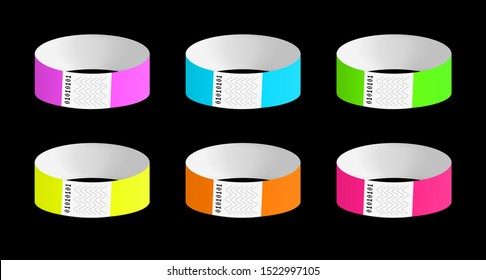 Vector set of luminous neon cheap empty bracelets or wristbands in the most common colors. Sticky hand entrance event paper bracelets isolated on black. Template or mock up suitable for identification