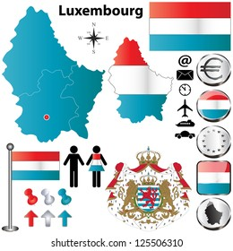 Vector set of Luxembourg country shape with flags, buttons and icons isolated on white background