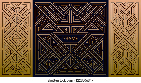 Vector set of luxury antique art deco geometric linear frame , border. Design templates for flyers, booklets, greeting cards, invitations, retro parties and advertising. Nouveau monogram style