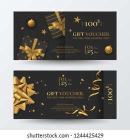 Vector set of luxury Christmas gift vouchers with realistic golden bows, boxes, toys, gold ribbons, stars and confetti. Festive dark background for design of gift card, coupon and holiday certificate