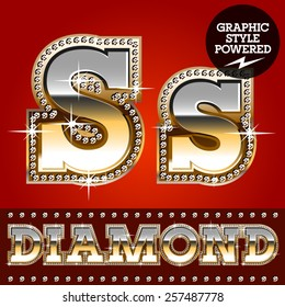 Vector set of luxury font in gold color with diamond border. Letter S