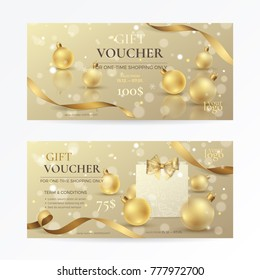 Vector set of luxury gift vouchers with golden ribbons, paper shopping bag, a bow and gold xmas toys. Elegant template for holiday gift card, coupon and certificate for Christmas and New Year offers.