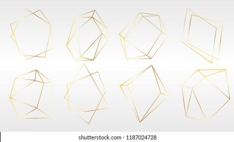 Vector set of luxury golden crystal shapes. Isolated illustration element. Isolated illustration element. Geometric quartz polygon crystal stone mosaic shape amethyst gem.